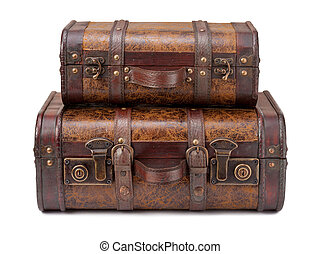 Two Old Suitcases Stacked on top of each other, isolated on...