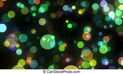 Many Motion Multicolored Round Shapes in Chaotic Arrangement