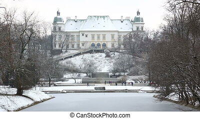 Ujazdow Castle in winter time, between Ujazdow Park and...