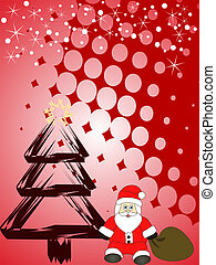 christmas scene - vector illustration of santa claus on and...