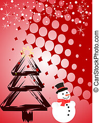 christmas scene - vector illustration of a snowman on and a...