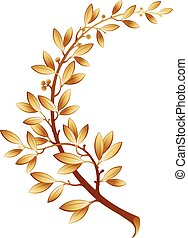Vector illustration contains the image of gold laurel branch...