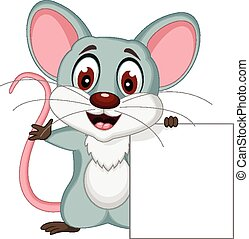 mouse cartoon with sign - vector illustration of mouse...