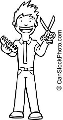 Hairstylist Isolated Line Art cartoon man with scissors