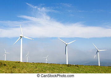 Wind turbines on a wind farm in Galicia, Spain - Onshore...