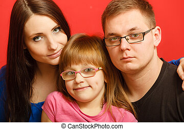 cute family of three face portrait - cute family of three...