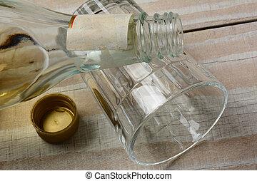 Liquor  Bottle on Glass