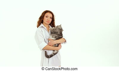 Young Woman With Grey Cat
