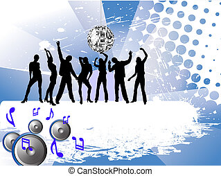 disco fever - vector illustration of young people...