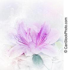 Pink Azalea Watercolor - Digital Painting Of Pink Azalea...