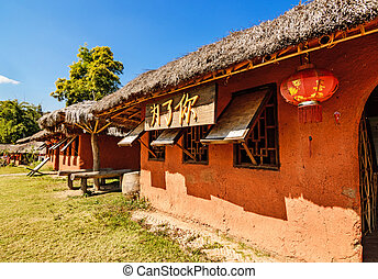 Chinese houses made of clay in hill at Santichon village ,...