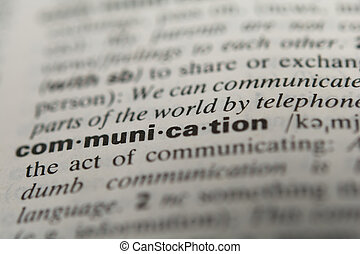 Definition of the word communication, close up