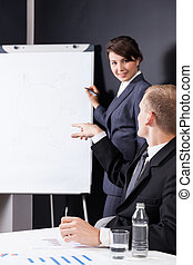 Manager writing on paper board during business meeting