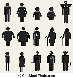 People icon sign symbol pictogram - Variety people icon...