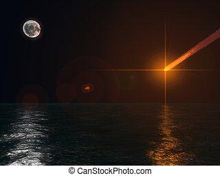 the endarmageddon scene,meteor falling to ocean