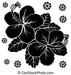 flowers vector - Black silhouette of flowers. Vector...
