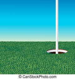 green golf field and golf hole with flag pole in clear blue...