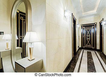 Luxury corridor in modern mansion