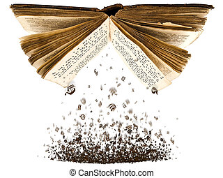 open book with characters - open book with spill out...
