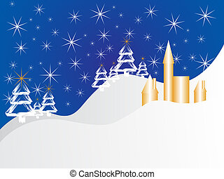 christmas scene - vector illustration of an abstract winter...
