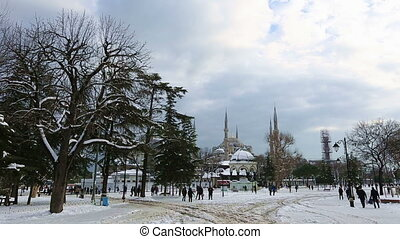 Blue Mosque in winter - cloudy day Blue Mosque at winter...