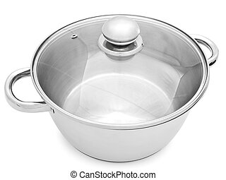 saucepan - metal saucepan with glass cover against the white...