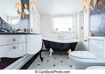 Exclusive bathroom in luxury mansion - Exclusive black and...