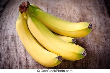 fresco, amarillo, plátano, fruta,