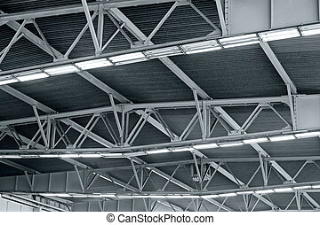 Lights on roof of storehouse - Industrial factory ceiling...