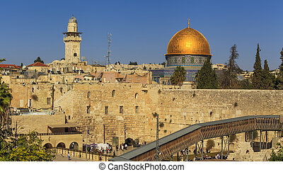 Beautiful view of the Jerusalem against the blue sky....