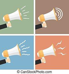 Megaphones - Hands with megaphones, flat design, vector...