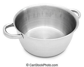 saucepan - metal saucepan without cover against the white...