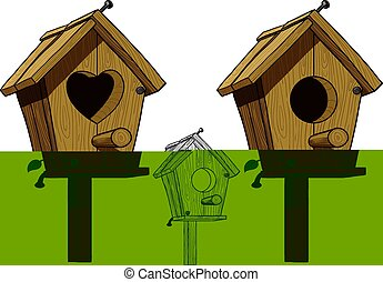 birdhouse with round hole with hole in heart shaped black...