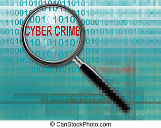 cyber crime - Close up of magnifying glass on  cyber crime