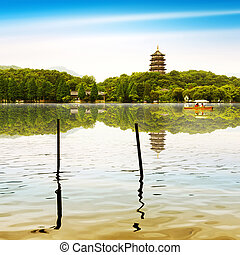 West Lake in Hangzhou, Zhejiang, China - hangzhou...