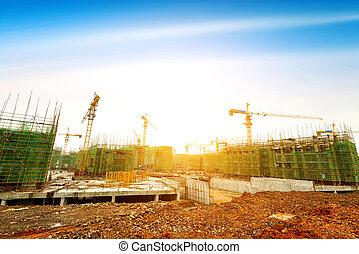 construcción, sitio,