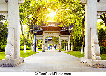 Hangzhou, China - traditional memorial arch in west...