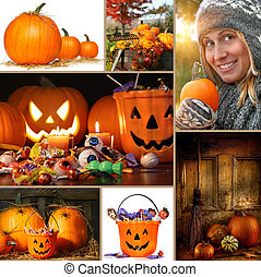 Halloween and autumn collage of pumpkins, candies and...
