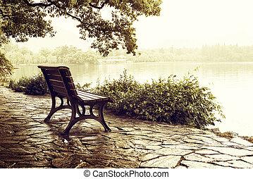 China Hangzhou West Lake - Lakeside benches, China Hangzhou...