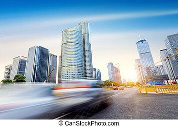 Hangzhou, China - The streets of Hangzhou, China,...