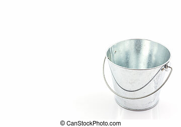 Metal zinc bucket . - Metal zinc bucket on white background.