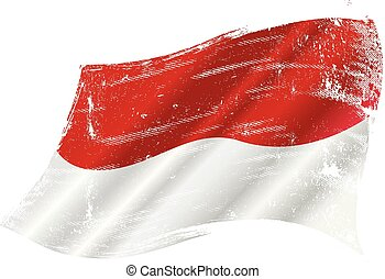Indonesian grunge waving flag - A grunge flag of Indonesia...