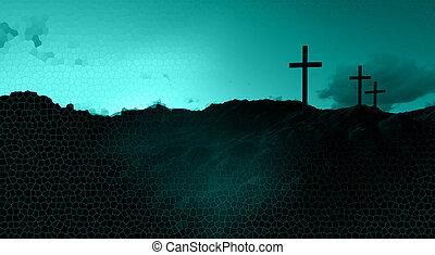 três, cruzes, em, pôr do sol,