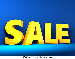 sale - 3d illustration of yellow sale sign over blue...