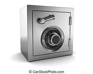 steel safe - 3d illustration of steel safe over white...