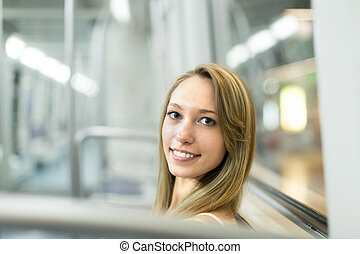 Portrait of passanger in train of metro - Portrait of a...