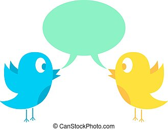 two birds tweeting. concept of social media and web....