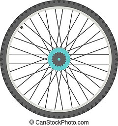 bicycle wheel in flat style. isolated on white background....