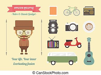 hipster's item, retro and classic gadget, pastel flat style
