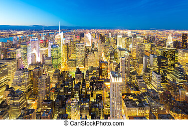 NYC Manhattan Downtown dusk - Aerial New York City skyline...